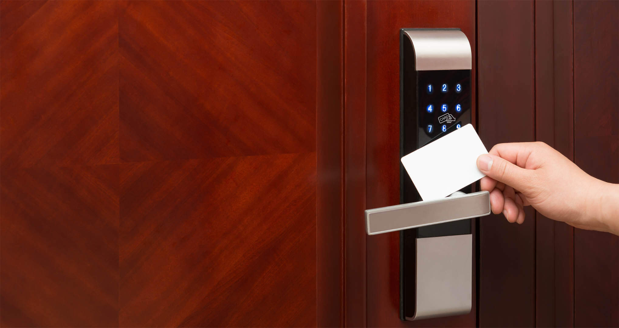 Electronic lock with keyless card access.
