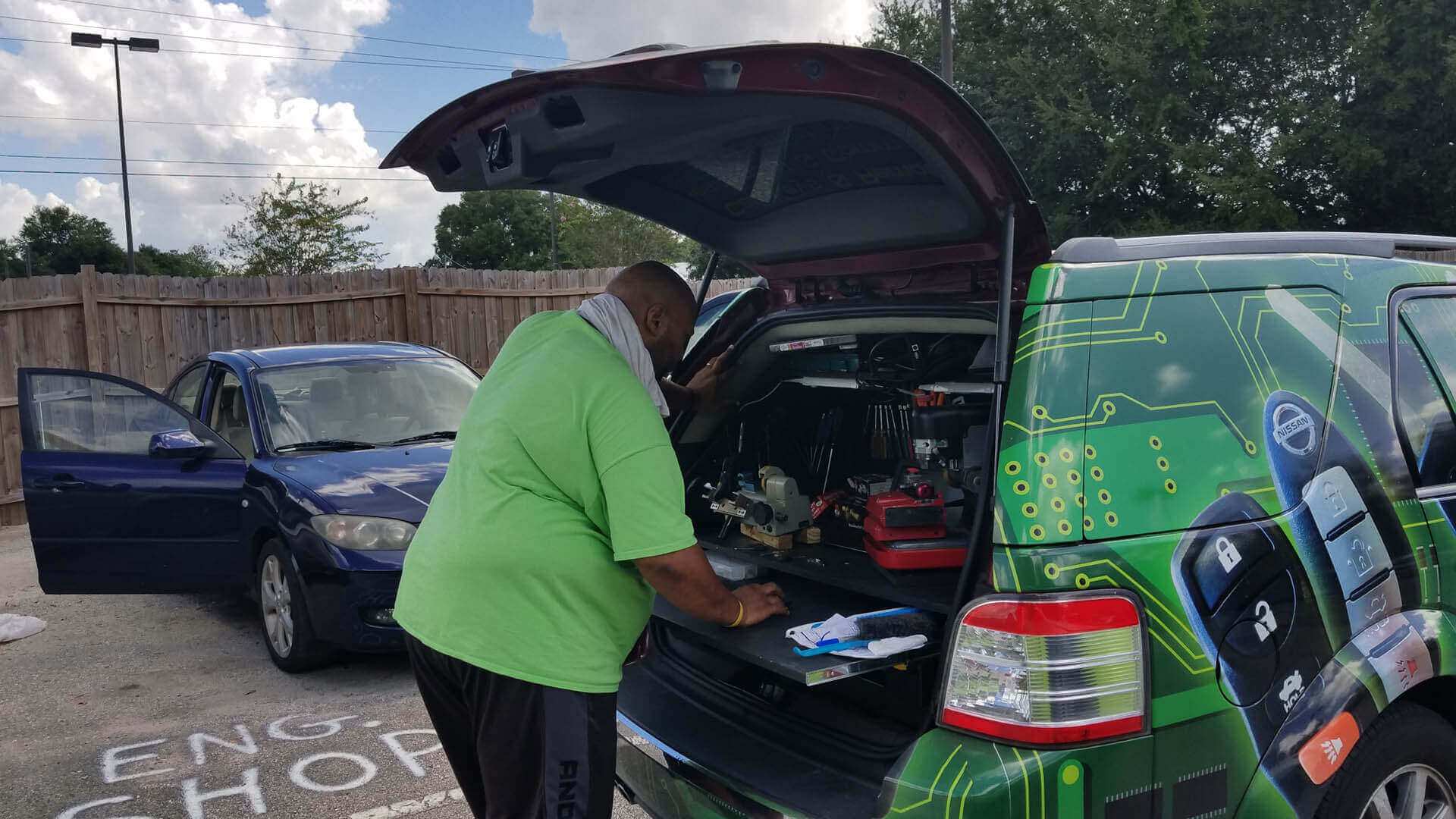 Locksmith working on a vehicle keys and lock