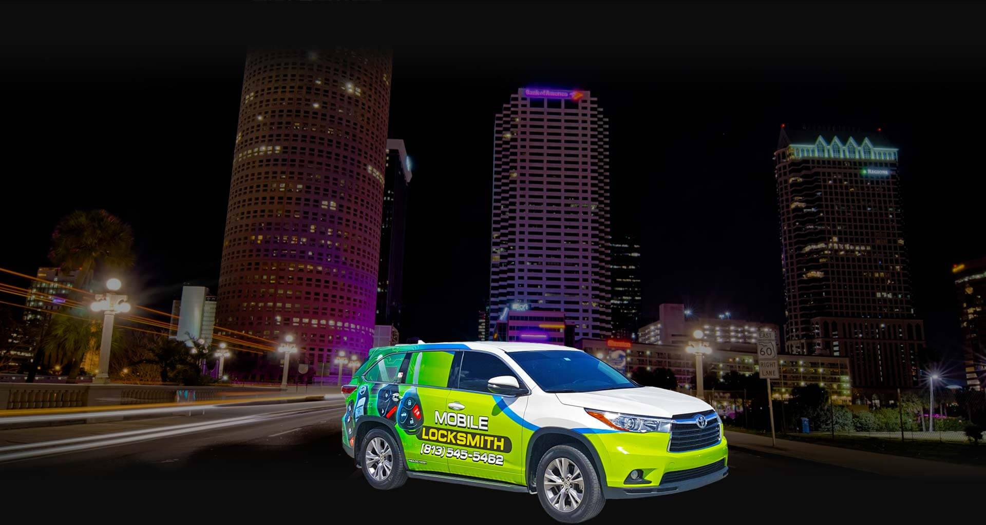 Cheap Lock & Key vehicle in front of Tampa, FL skyline.