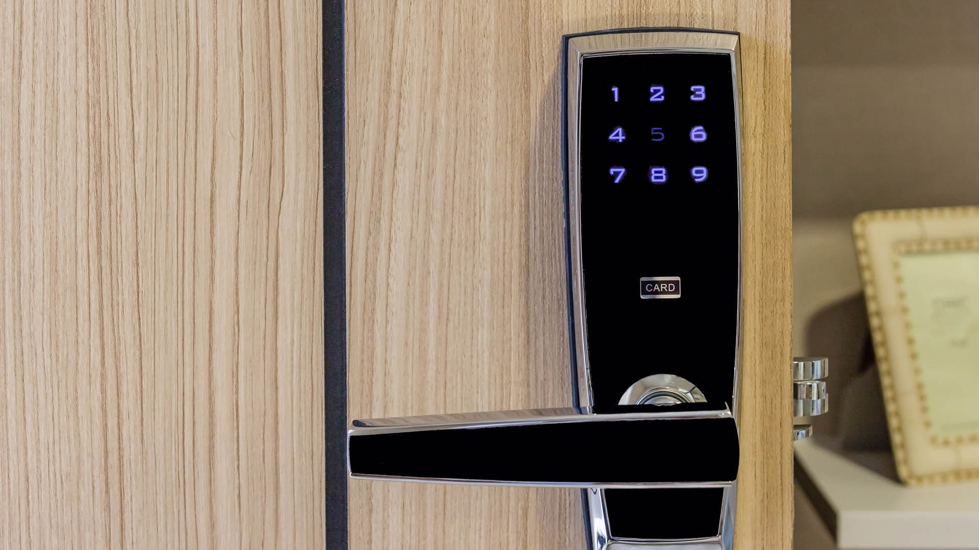 Electronic lock and keyless deadbolt on a commercial door in  Tampa, FL.